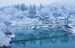 Paysage d'hiver de campagne du Japon à la ville de Mishima image stock