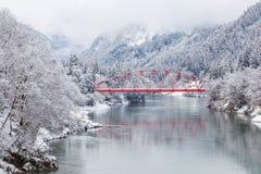 Paysage d'hiver de campagne du Japon images stock