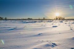 Paysage d'hiver de champ et de ciel avec le soleil Photo libre de droits