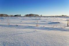 Paysage d'hiver de champ et de ciel, lever de soleil Photographie stock