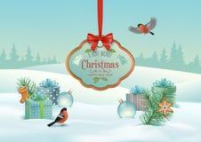 Paysage d'hiver de Noël de vecteur illustration stock