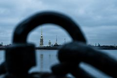 Paysage d'hiver de Sankt-Peterburg photographie stock
