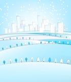 Paysage d'hiver de 03 villes Image libre de droits