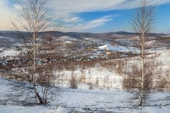 Paysage d'hiver des Monts Oural Image stock