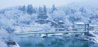 Paysage d'hiver du Japon à la ville de Mishima photographie stock libre de droits