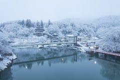 Paysage d'hiver du Japon à la ville de Mishima Images stock