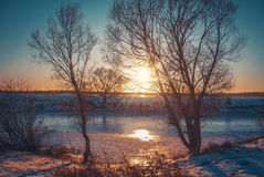 Paysage d'hiver en nature de neige images libres de droits