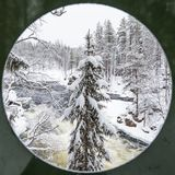 Paysage d'hiver en parc national d'Oulanka Ruka, Finlande photographie stock