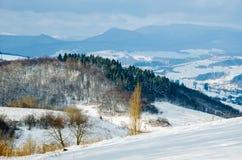Paysage d'hiver, les dessus des montagnes carpathiennes sous le cov Photo stock