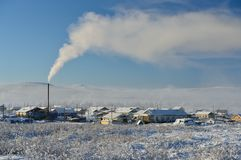 Paysage d'hiver d'Oymyakon Yakutia, Russie photo stock