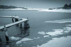 Paysage d'hiver par la mer Photographie stock libre de droits