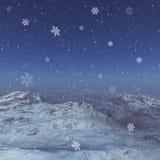 paysage d'hiver produit par 3d : Montagnes brumeuses Photographie stock