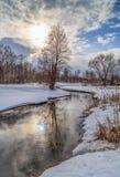 Paysage d'hiver, rivière, neige Photographie stock libre de droits