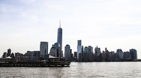 Paysage d'horizon de New Jersey aux Etats-Unis, après-midi avec la lumière du soleil photo stock