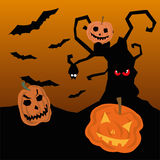 Paysage d'horreur de Halloween avec des potirons Photographie stock libre de droits