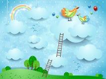 Paysage d'imagination avec des escaliers et des oiseaux au-dessus des nuages photographie stock