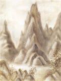 Paysage d'imagination avec des montagnes dans la couleur de sépia Défectuosité tirée par la main Image stock