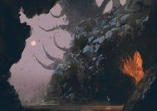 Paysage d'imagination avec la caverne de mystère illustration libre de droits