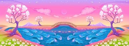 Paysage d'imagination avec la rivière Photographie stock