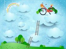 Paysage d'imagination avec les escaliers et le vélo au-dessus des nuages images libres de droits