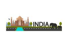 Paysage d'Inde avec le temple de Taj Mahal, deux silhouettes noires d'éléphant Vecteur Photographie stock libre de droits