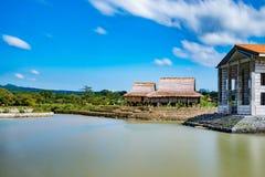 Paysage d'un village colonial espagnol, Philippines De acuzar, Philippines de maisons de las Photographie stock