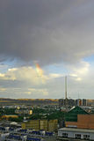 Paysage d'une petite ville en Chine occidentale avec l'arc-en-ciel Photos libres de droits