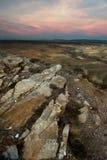 Paysage d'une vallée au coucher du soleil Photos libres de droits