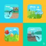 Paysage d'urbain et de village Écologie, environnement Images libres de droits