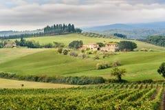 Paysage dans la région de chianti dans la province de Sienne tuscany l'Italie images stock