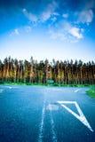 Paysage dans la route goudronnée et la forêt de la Pologne Image libre de droits