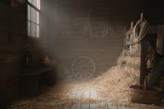 Paysage dans le studio de grange de village Photographie stock libre de droits