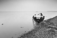 Paysage de baie de jiaozhou de Qingdao, brouillard Images libres de droits