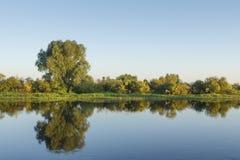 Paysage de berge le jour clair d'été Les réflexions des arbres dans l'eau apprêtent contre le ciel clair bleu Nature naturelle de photographie stock libre de droits