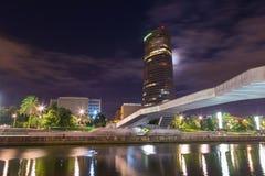 Paysage de Bilbao, la rivière Nervion image libre de droits