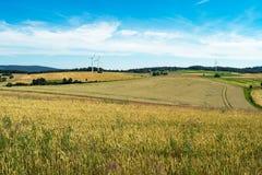 Paysage de campagne avec les champs de blé, les collines et les turbines jaunes et verts de générateur d'énergie éolienne photos libres de droits