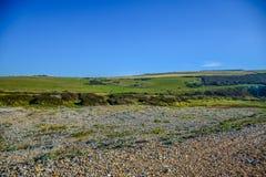 Paysage de campagne sur le chemin à sept soeurs dans les bas du sud parc national, East Sussex, Eastbourne, R-U image libre de droits