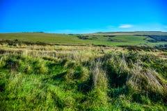 Paysage de campagne sur le chemin à sept soeurs dans les bas du sud parc national, East Sussex, Eastbourne, R-U image stock