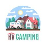 Paysage de camping-car de rv, classe C, logo de rv Images stock