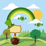 Paysage de chaudron de trèfle d'oiseaux d'arc-en-ciel de vert de jour de patricks de St Image libre de droits