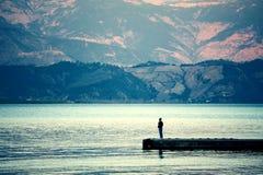 Paysage de Yunnan, Chine, lac Lugu Photographie stock libre de droits