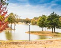 Paysage de chute à l'étang Image stock