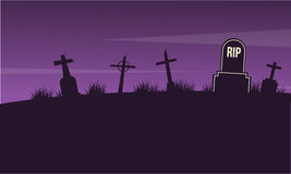 Paysage de cimetière sur la collection de Halloween Images stock