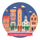 Paysage de conception plate et icône urbains de bâtiment de la vie de ville Photographie stock libre de droits