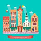 Paysage de conception plate et icône urbains de bâtiment de la vie de ville Image stock