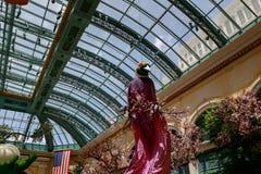 Paysage de conservatoire d'hôtel de Bellagio et de jardins botaniques à Las Vegas Image libre de droits