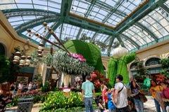 Paysage de conservatoire d'hôtel de Bellagio et de jardins botaniques à Las Vegas Image stock