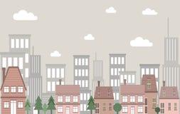 Paysage de construction de logements de ville de vintage de vecteur avec des édifices hauts comme fond illustration de vecteur