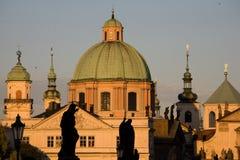 Paysage de coucher du soleil à Prague Photo libre de droits