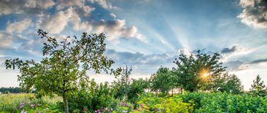 Paysage de coucher du soleil au printemps Photographie stock libre de droits